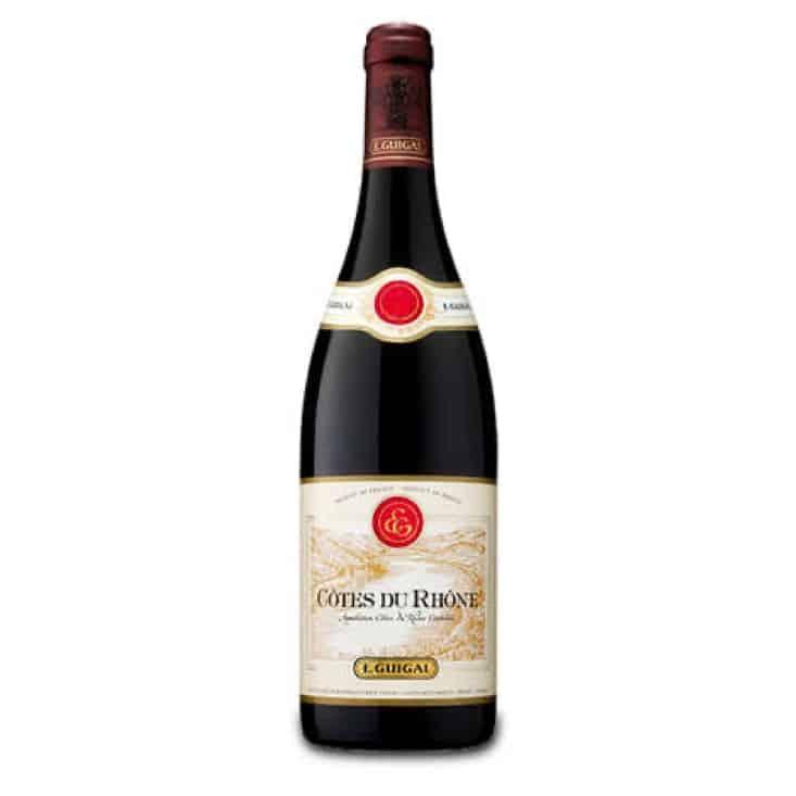 A bottle of Cotes du Rhone