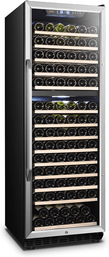 Lanbo LW165 Dual Zone Compressor Red Wine Cooler with Wooden Shelves